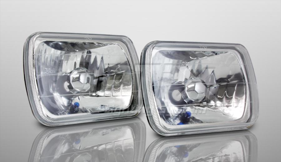 H6054 7x6 Head Light Glass Housing Diamond Cut Lamp